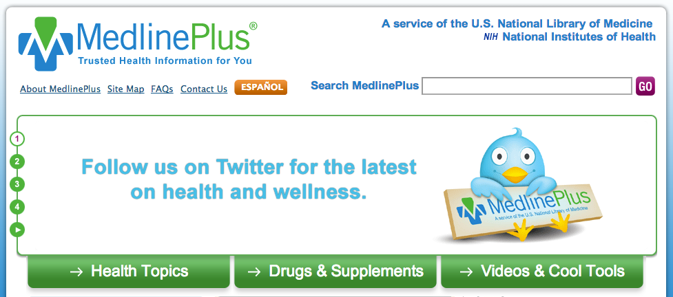 The MedlinePlus website