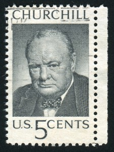 UNITED STATES - CIRCA 1965: stamp printed by United states, shows Winston Churchill, circa 1965
